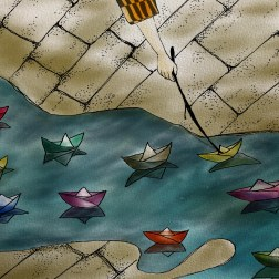 Eleven Paper Boats - Ink and Color
